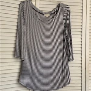 Zenana  Outfitters soft, striped 3/4 sleeve. Large